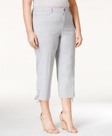 Style & Co. Womens Plus Tummy Control Mid-Rise Capri Jeans Gray 14W