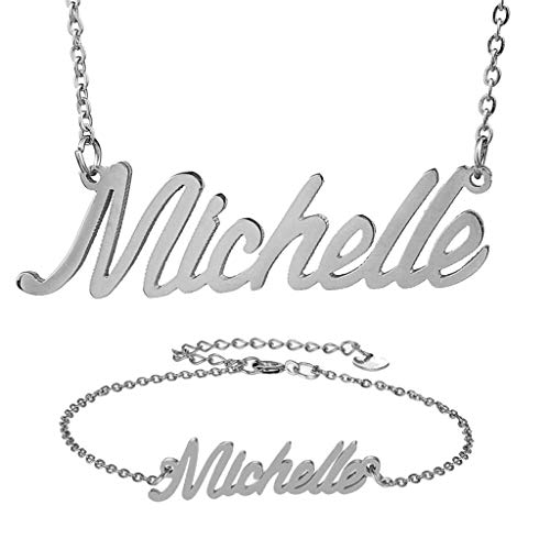 AIJIAO Personalized Name Necklace + Name Bracelet Sets for Women Nameplate Pendant Gift -Michelle Silver -