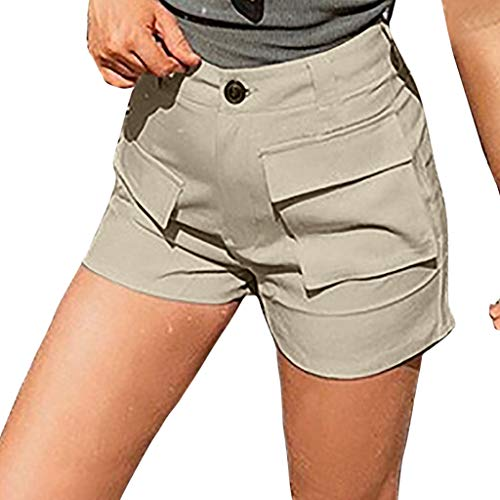 JOFOW Womens Shorts Summer Solid A Line Slim Tunic Casual Loose Mini Pants Workwear High Waist with Pockets Short Plus Size (XL,Beige)