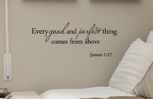 #2 Every Good and Perfect Thing Comes From Above James 1:17 Bible Verse Inches Symbol Matte Black Vinyl Silhouette Keypad Track Pad Decal Window Wall Quotes Sayings Art Vinyl Decal