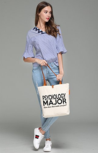 So'each Women's Psychology Major Graphic Top Handle Canvas Tote Shoulder Bag