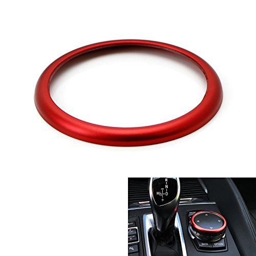 iJDMTOY 1pc Red Aluminum Ring For BMW 1 2 3 4 5 6 7 Series X3 X 4 X5 X 6 Center Console iDrive Multimedia Controller Knob (Fit All Fxx Chassis Codes) (Aluminum Ring Gloss)