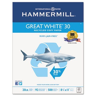 Great White Recycled Copy Paper, 92 Brightness, 20lb, 8-1/2 x 11, 5000 Shts/Ctn, Sold as 10 ()