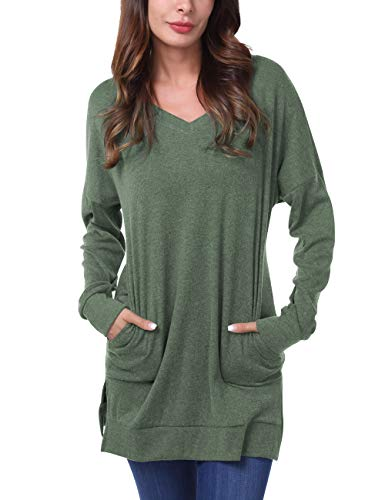 DJT FASHION Womens V-Neck Long Sleeves Tunics Tops with Pocket XX-Large Green