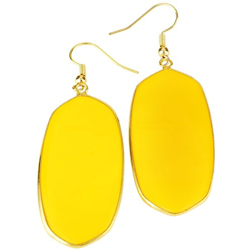 rockcloud Yellow Crystal Glass Dangle Hook Earrings Oval Gold Plated