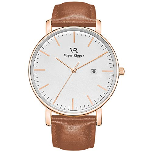 Vigor Rigger Men's Fashion Slim Quartz Date Wrist Watch with Leather & Mesh Band (Rose Gold-Brown)