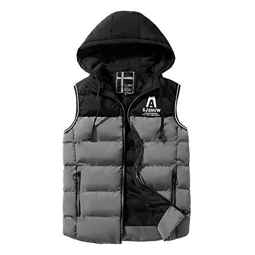 - Men's Winter Puffer Vest Hooded Quilted Thick Cotton Warm Sleeveless Jacket Gilet Toponly Gray