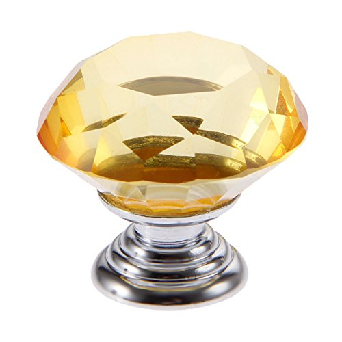 - Mtsooning 2pcs 30mm Diamond Crystal Glass Knob for Closet Cabinet Drawer Kitchen Dresser Cupboard Wardrobe,3 Size Screws,Amber
