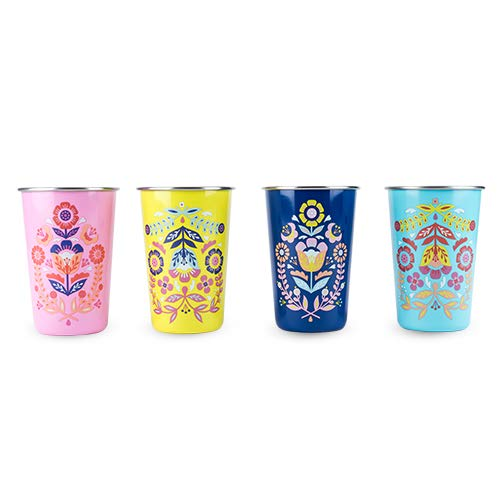 True Fabrication Frida: Assorted Painted Floral Tumblers, Multi Color