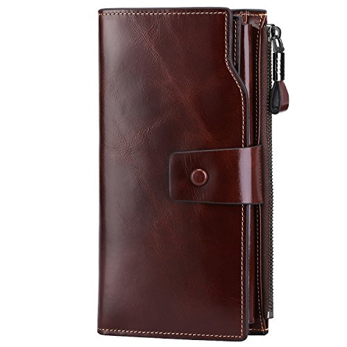 S-ZONE Women's RFID Noble Blocking Elegant Wallet Large Capacity Luxury Wax...