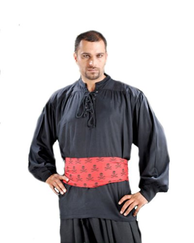 Captain Quincy Pirate Shirt - Color Black - Size Large - Male Renaissance Costume Patterns