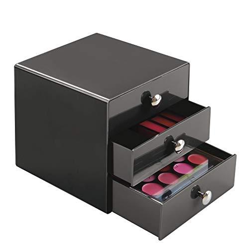 "InterDesign Plastic 3-Drawer Jewelry Box, Compact Storage Organization Drawers Set for Cosmetics, Dental Supplies, Hair Care, Bathroom, Office, Dorm, Desk, Countertop, 6.5"" x 6.5"" x 6.5"", Slate Gray"