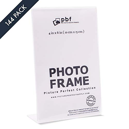 """Photo Booth Frames - Set of 4x6 Inch Acrylic Picture Frames, Sign Holders 4"""" x 6"""" Vertical (144 Pack)"""