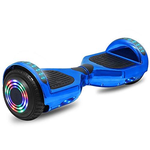 cho Electric Hoverboard Smart Self Balancing Scooter Hover Board Built-in Speaker LED Wheels Side Lights for Kids- Safety Certified (_Chrome Blue)