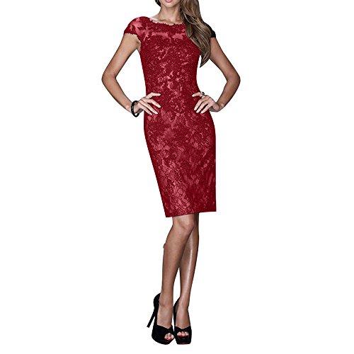 La_mia Brau Spitze Knielang Kurzes Abendkleider Brautmutterkleider Cocktailkleider Tanzenkleider Partykleider Festlichkleider Dunkel Rot nCTMg7c