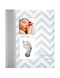 Pearhead Chevron Baby Memory Book with an Included Clean-Touch Ink Pad to Create Baby's Handprint or Footprint, Grey BOBEBE Online Baby Store From New York to Miami and Los Angeles