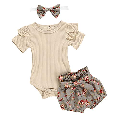 Clothing For Girl (Newborn Baby Girls Clothes Floral Sleeve Romper+ Floral Short Pant 3pcs Summer Outfit 0-3 Months)