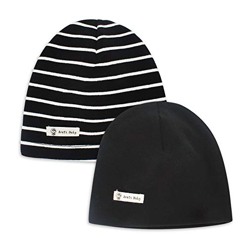 MK MATT KEELY Infant Soft Hat Toddler Cotton Hat Kids Boys Casual Beanie Hat for 3-12 Months Baby 2-Pack Black