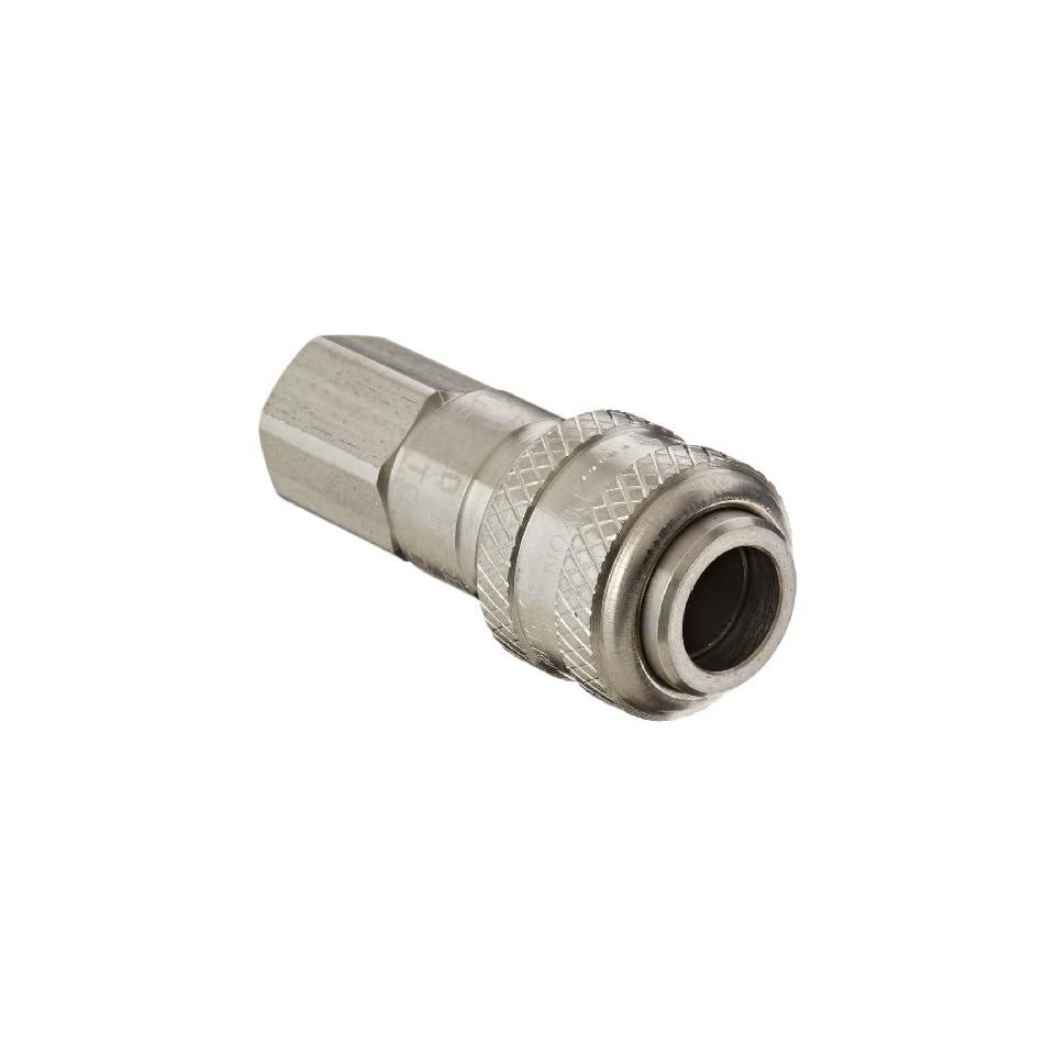 Dixon Valve 2DF2 S Stainless Steel 303 Automatic Industrial Interchange Pneumatic Fitting, Socket, 1/4 Coupler x 1/4   18 NPTF Female Thread