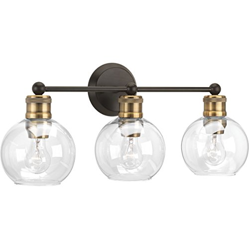 Progress Lighting P300051-020 Hansford Collection Three-Light Bath & Vanity, Antique Bronze