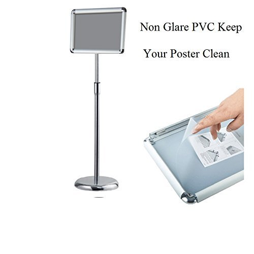 - Pedestal Sign Holder Floor Stand w/Telescoping Post & Easy Open Poster Frame for 8.5x11 inches Paper Size, Both Vertical and Horizontal View (Round Corner 8.5x11 inch)