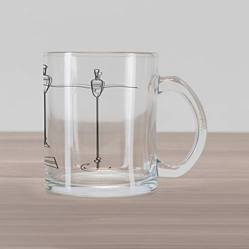 Lunarable Nautical Glass Mug, Fishing Tackle Floaters Hooks Fishing Gear Equipment Doodle Style Art, Printed Clear Glass Coffee Mug Cup for Beverages Water Tea Drinks, Charcoal Grey White