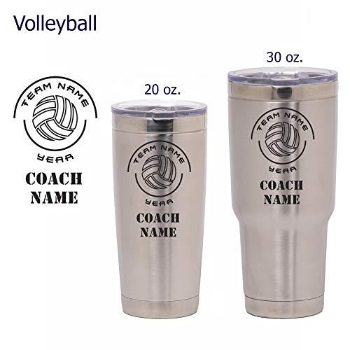 (National Etching Volleyball Coach Gift - Personalized Insulated Vacuum Sealed Sports Tumbler with Lid - Customized with Team Name, Coach Name, Year (Volleyball, 30 oz))