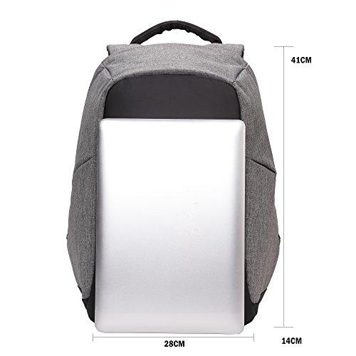 BISON DENIM Neue Feature of 2 Seitentaschen Anti-Diebstahl-Rucksack Outdoor-Reisen Wandern Rucksack Laptop tasche mit USB Ladegerät Port für Männer und Frauen, grau N2714-Grau