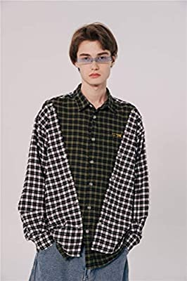 XZYP Franela Camisas De Tela Escocesa De Los Hombres De La Calle Remiendo A Cuadros Hombres De Las Camisas De Manga Larga,Verde,M: Amazon.es: Hogar