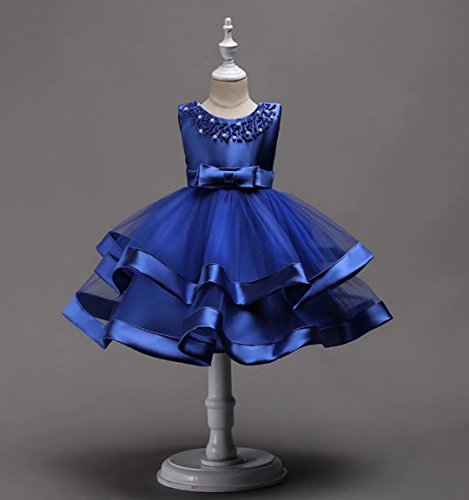 AYOMIS Girls Lace Bridesmaid Dress Wedding Pageant Dresses Tulle Party Gown Age 3-9Y(Blue,5-6Y) by AYOMIS (Image #2)