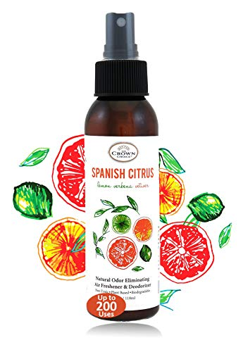Natural Room Deodorizer Spray Air Freshener (Spanish Citrus 1PK) | Lemon Citrus Verbena Naturals Deodorize Freshner for Rooms & Odor Using Essential Oils