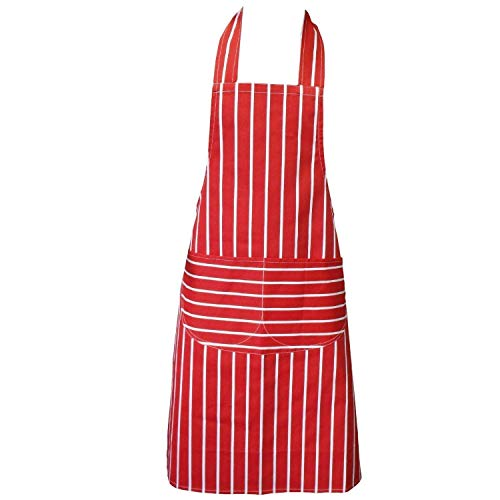 Chefs Apron Professional Quality Red & White Butchers BBQ Kitchen Cook School Apron Double POCKETS 100% Cotton made by Clay:Roberts (190)