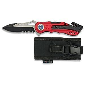 Albainox 19495GR1003. Navaja roja seguridad EMS. Mango de aluminio. Hoja con sierra de 8.1 cm. Incluye punta rompevidrio y cutter cinturón de seguridad. Funda de nylon 6