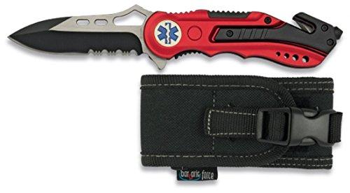 Albainox 19495GR1003. Navaja roja seguridad EMS. Mango de aluminio. Hoja con sierra de 8.1 cm. Incluye punta rompevidrio y cutter cinturón de seguridad. Funda de nylon 1