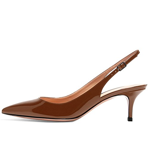 Kmeioo Kitten Heels Pumps, Pointed Toe Slingback Sandals Ankle Strap Low Heel Pumps Evening Party Wedding Shoes 6.5CM-Brown-(US 7M) Brown Slingback