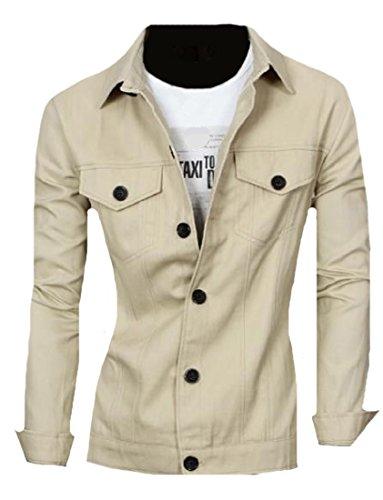 Sleeve Trim Long Lounge Outwear Pocket Mogogo Khaki Mens Fit Original XqwRXxAB1