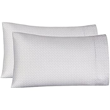 AmazonBasics Light-Weight Microfiber Pillowcases - 2-Pack, Standard, Grey Crosshatch