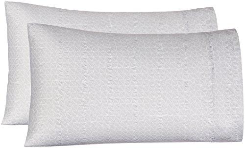 (AmazonBasics Microfiber Pillowcases, Set of 2, Standard, Grey Crosshatch)