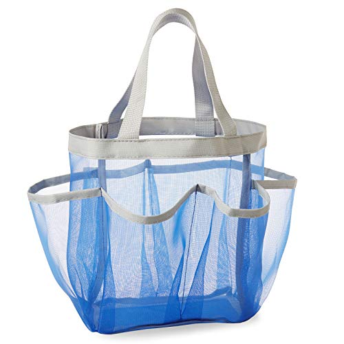 Casafield Portable Mesh Shower Caddy Tote, Blue - Quick Dry Hanging Bathroom & Toiletry Organizer Storage Bag for College Dorms, Gym, Camping and Travel