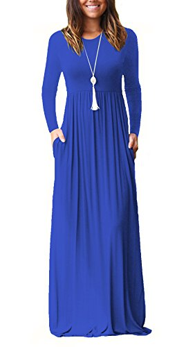d3eb93f7e6 LHS Charmer Women Long Sleeve Loose Plain Maxi Dresses Casual Long Dresses  with Pockets