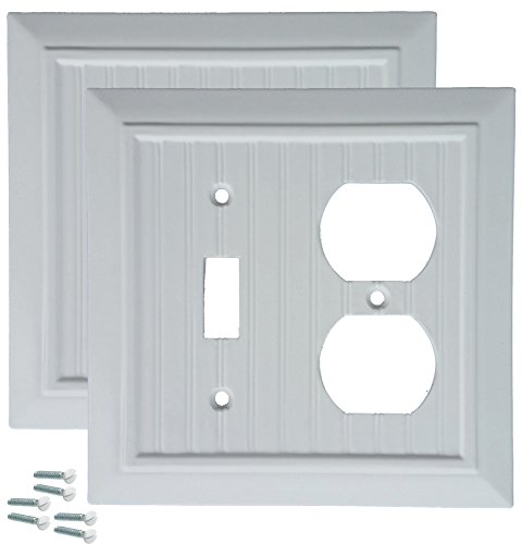 Pack of 2 Wall Plate Outlet Switch Covers by SleekLighting | Classic Beadborad Wall plates| Variety of Styles: Decorator/Duplex/Toggle/Blank / & Combo | Size: 2 Gang Combo Toggle and Receptacle