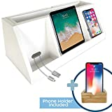 Bamboo Wood Charging Stand | Wooden Charger Station for Multiple Devices | Docking Stand Ideal for Family | Eco Friendly Phone Dock Station Organizer | Free Bamboo Phone Holder
