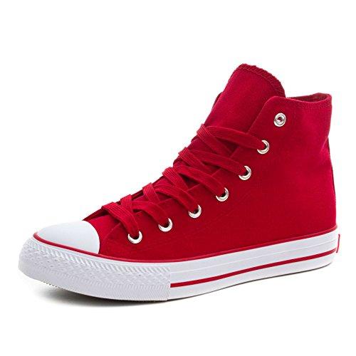 Klassische Unisex Damen Herren Schuhe Low High Top Sneaker Turnschuhe Rot/Weiß High