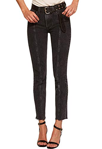 GOSOPIN Women Retro Blue Designful Seam Accent Raw Hem Jeans Small Black