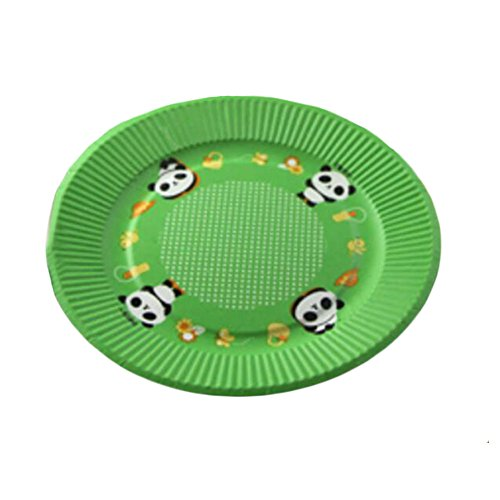 7' Cake Paper Plates - 10PCS Disposable Paper Plates Environmental Cake Platters 7'' Dessert Container Panda Green