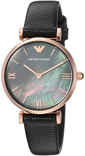 Emporio Armani Women's 'Dress' Quartz Stainless Steel and Leather Casual Watch, Color:Black (Model: - Emporio Womens Armani