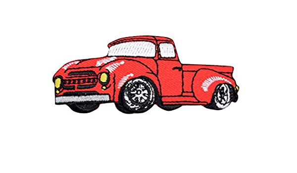 Red 1950/'s Classic//Vintage Truck Iron on Applique//Embroidered Patch