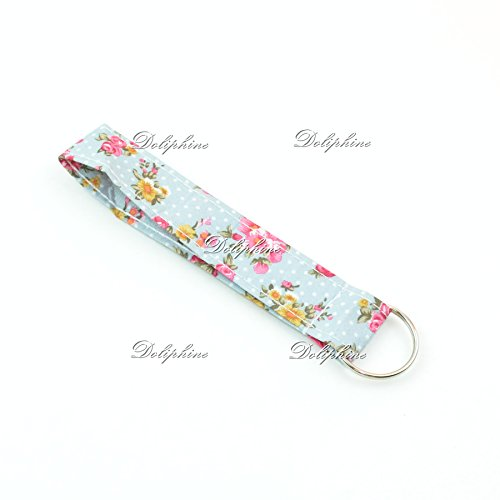 Classic Floral Print Wristlet Fabric Lanyard Key Chain for ID Badge Holder, Key fob, Key, USB, Purse (Light Blue)