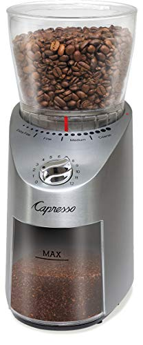 Capresso 575.05 Infinity Plus Conical Burr Grinder with Large Bean Container, Stainless Steel