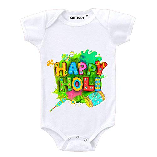 """KNITROOT Holi Baby Romper White Color Half Sleeve""""Happy Holi""""(6-9 Months)"""